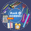 back to school. banner. Templates with supplies tools. Place for your text. Place for your text. Layered realistic vector.