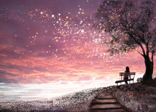 Fantasy Illustration With Beautiful Sky, Stars.  Girl Is Sitting On A Bench Under An Tree And Looking At The Sunset, Cute  Landscape. Painting. Floral Meadow And Stairs