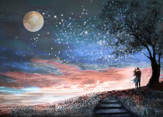 Fototapeta Niebo Fantasy illustration with night sky and MilkyWay, stars moon. woman and man under an tree looking at the space landscape. floral meadow and stairs. Painting.