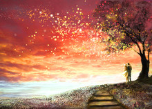 Fantasy Illustration With Beautiful Sky, Stars.  Woman And Man Under An Tree Looking At The Sunset, Cute  Landscape. Painting. Floral Meadow And Stairs