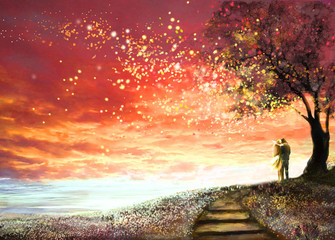 Panel Szklany Łąka Fantasy illustration with beautiful sky, stars. woman and man under an tree looking at the sunset, cute landscape. Painting. floral meadow and stairs