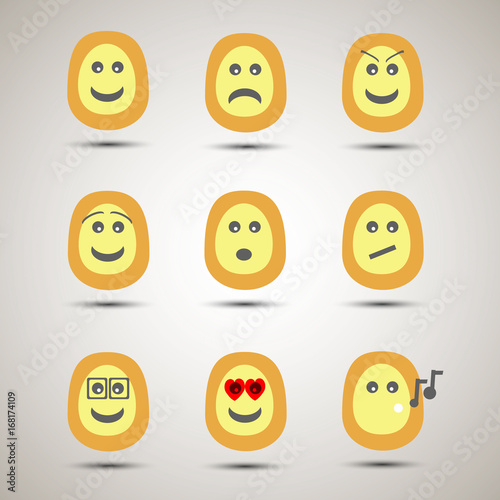 Set of creative emoji smiley faces  Emotion emoji, happy