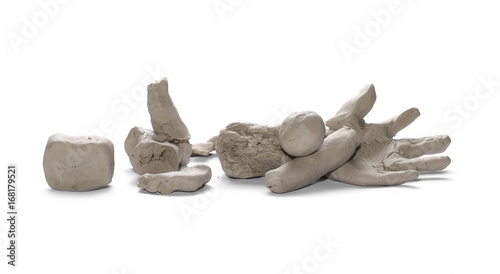 Grey modelling clay ruins shape isolated on white background
