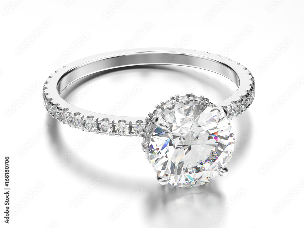 Fototapety, obrazy: 3D illustration white gold or silver engagement ring with diamond with reflection