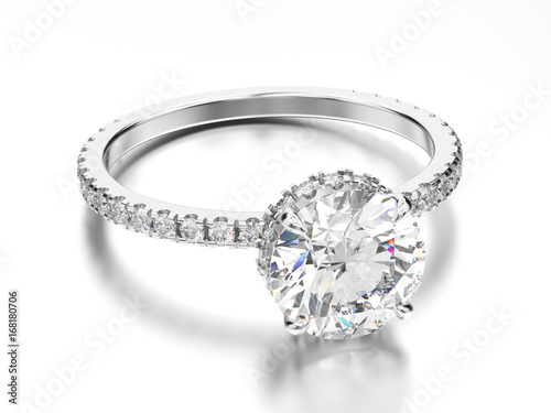 Fotografija 3D illustration white gold or silver engagement ring with diamond with reflectio
