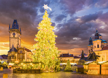 Christmas Tree In Magical City Of Prague At Night, Czech Republic