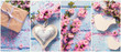 Collage from photos with pink sakura flowers on blue wooden background.