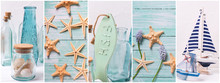 Collage From Photos With  Summer Vacation  Decorations.
