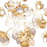 Wzór z jasnymi złotymi kwiatami wiśni. Ilustracji wektorowych. - 168184187