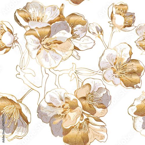 Tapeta Ecru  seamless-pattern-with-a-light-gold-cherry-flowers-vector-illustration