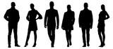 Zestaw sylwetki wektor biznesmenów, grupa mężczyzn i kobiet w formalnym stroju