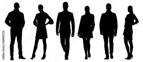 Obraz Set of businessmen vector silhouettes, group of men and women in formal dress - fototapety do salonu