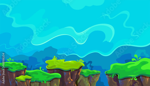 Poster Turquoise Vector cartoon landscape