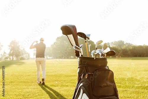 Back view of a male golfer swinging golf club Slika na platnu