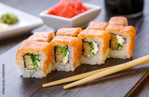 Poster Sushi bar Philadelphia roll sushi with salmon