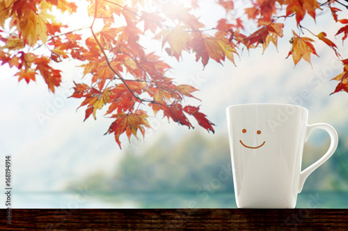 Fotografie, Obraz Happiness and Relaxation moment in Fall Season Concept, Happy smiley face Coffee