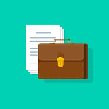 Briefcase Near Lots Of Paper Documents Vector Illustration, Flat Cartoon Business Case With Pile Of Docs Isolated On Color Background