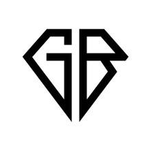 Initial Letters Logo Gb Black Monogram Diamond Pentagon Shape