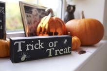 Selection Of Halloween Decorations On Windowsill