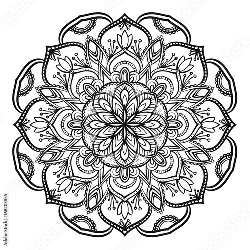 Slika na platnu Decorative mandala isolated on white background