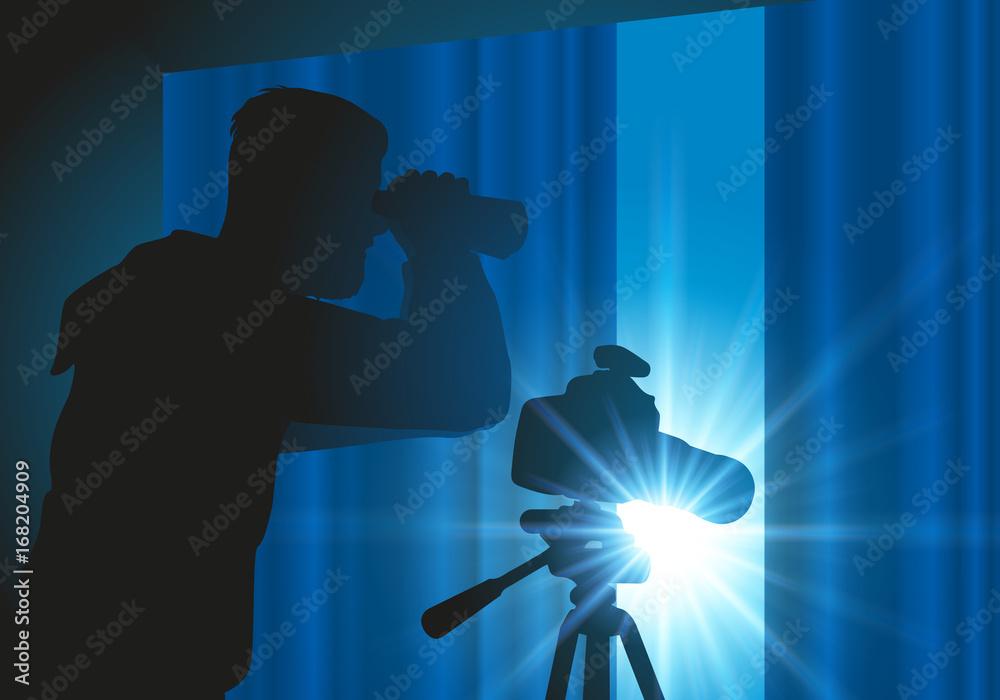 Fototapeta espion - détective - jumelles - espionner - enquête - paparazzi