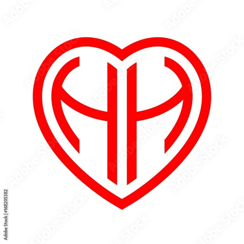 Initial Letters Logo Hh Red Monogram Heart Love Shape Buy This