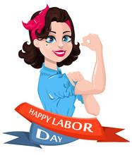 Labor Day Poster. Pop Art Stro...