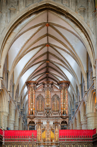 Fotografie, Obraz  Gloucester, United Kingdom - June 8, 2013: View of Gloucester Cathedral organ an