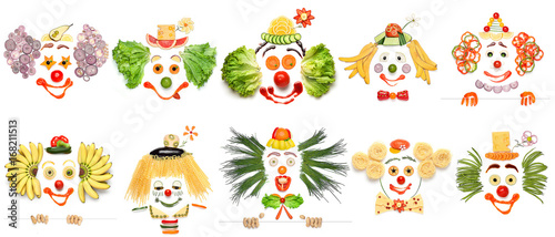 Poster Légumes frais Funny plates / Creative set of food concepts of smiling clowns from vegetables and fruits.