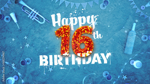 Happy 16th Birthday Card With Beautiful Details Buy This Stock