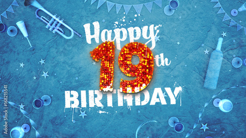 Happy 19th Birthday Card With Beautiful Details Buy This Stock