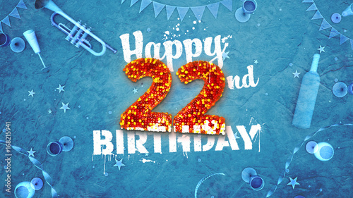 Happy 22nd Birthday Card With Beautiful Details Buy This Stock