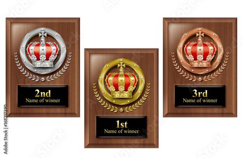 Fotografía  Illustration of 3 commemoration shields