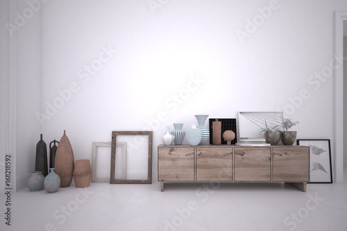 Valokuva  3d rendering interior of a room with wooden sideboard and furnishing accessories