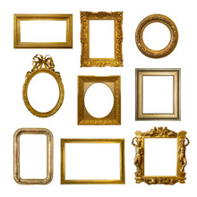 Set Of Gilded Antique Frames Isolated On White Background