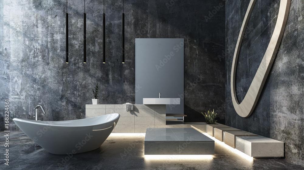 Fototapeta Luxuriöses Badezimmer in Beton Loft