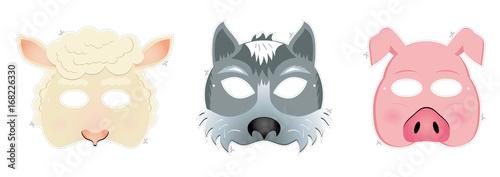 Fototapeta Carnival masks - sheep, wolf, piggy obraz
