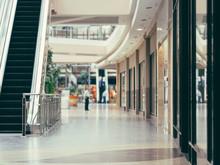 Interior Of Modern Shopping Mall Building. Shallow DOF