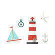 Nautical, marine set - ship, lighthouse, compass, anchor and seagull, flat cartoon vector illustration isolated on white background. Nautical elements - sailboat, lighthouse, compass, anchor, seagull