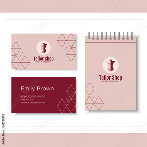 Branding For Tailor Shop Dressmakers Salon Sewing Studio Clothing Store And Fashion Designer Logo Business Card Notepad Vector Illustration In Modern Style Buy This Stock Vector And Explore Similar Vectors At