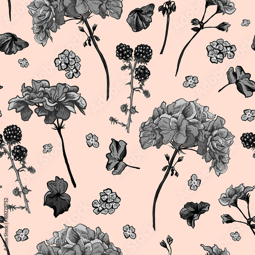 Cotton fabric Floral seamless pattern with blooming geraniums
