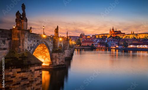 Staande foto Praag Sunset in Prague, Charles Bridge overlook
