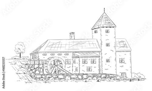 Obraz na płótnie historical building watermill