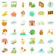 Summer adventure icons set, cartoon style