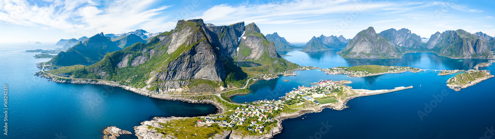 Fototapeta Aerial panoramic view of Reine, Lofoten, Norway, sunny arctic summer