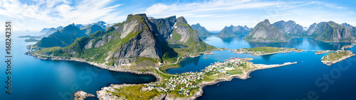 Aerial panoramic view of Reine, Lofoten, Norway, sunny arctic summer