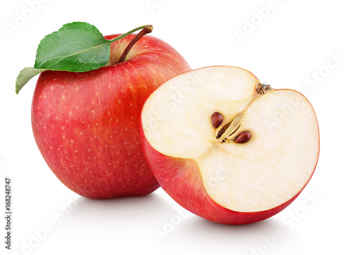 Ripe red apple fruit with apple half and green leaf isolated on white background. Apples and leaf with clipping path