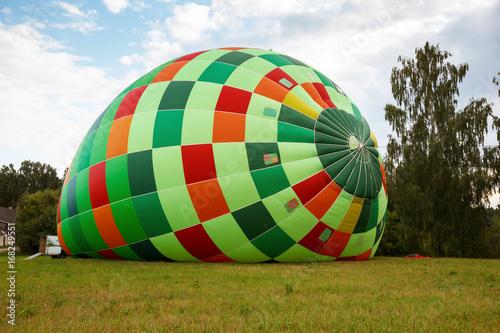 Hot air balloon preparation for flight