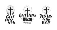 Religion, Cross, Crucifixion Icon Or Symbol. Lettering, Calligraphy Vector Illustration