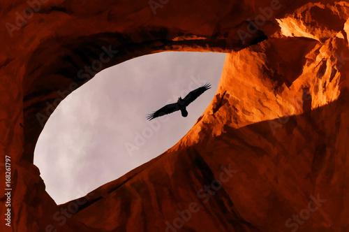 Garden Poster Brown Viewing Buzzard through rocks at Mounument Valley